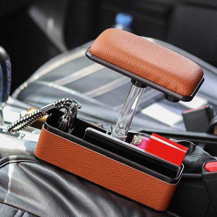 משענת יד מתכווננת לנהג הרכב עם אחסון