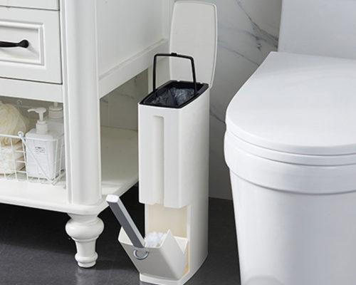 פח נוחות לשירותים עם מקום למברשת האסלה ומתקן לשקיות ונייר