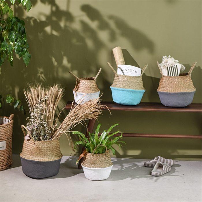 סל במבוק דקוראטיבי רב שימושי לגידול עציצים בתוך הבית ולאחסון