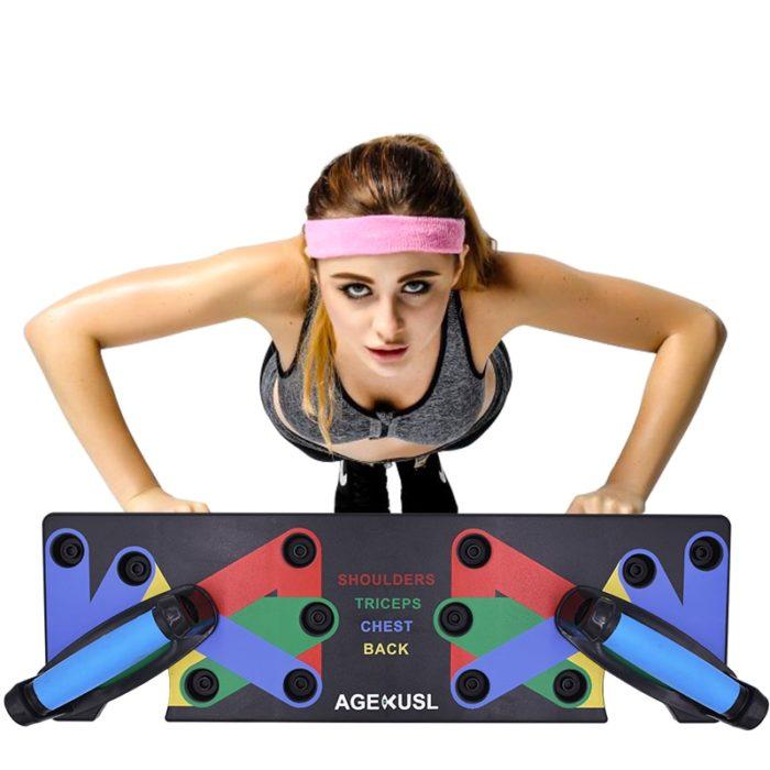 לוח אימון לביצוע מגוון של תרגילים מחטבים לאיזורים שונים בגוף