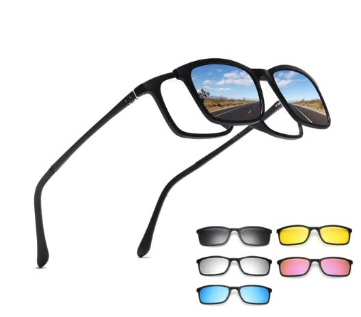 משקפי שמש עם 5 עדשות מגנטיות מתחלפות בצבעים שונים