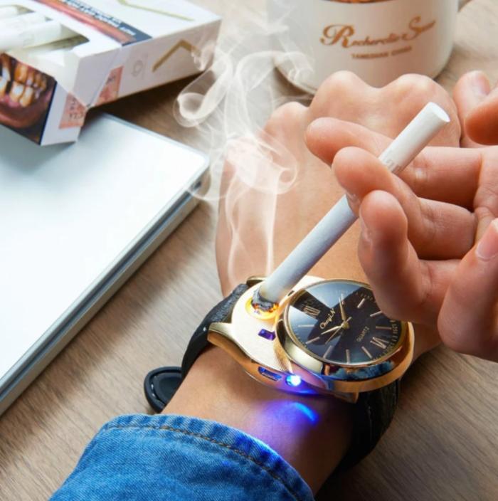 שעון יד עם מצית חשמלית נטענית מובנית