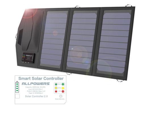 פאנל סולארי מתקפל נייד הנטען מהשמש עם יציאות USB להטענת מכשירים