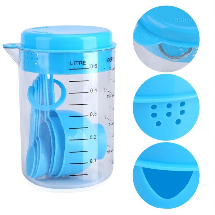 כוס למדידת מל עם כפיות בגדלים שונים למדידה מדויקת