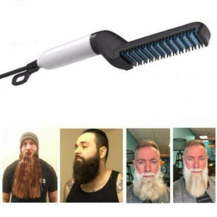 מחליק שיער חשמלי עם מסרק מובנה לזקן ולשיער ראש