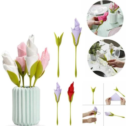 מעמד סידור מפיות בצורת פרחים