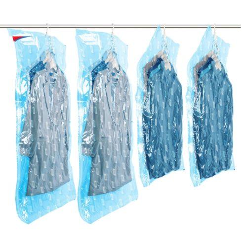 4 שקיות ואקום לאחסון בגדים וחיסכון במקום באמצעות שואב אבק