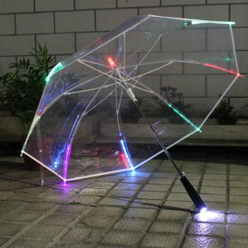 מטריה עם נורות לד ופנס דרכים