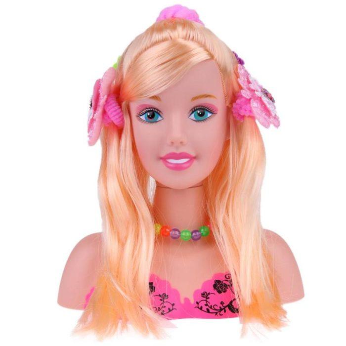 ראש בובה למשחק עיצוב שיער לילדים כולל סט אביזרים