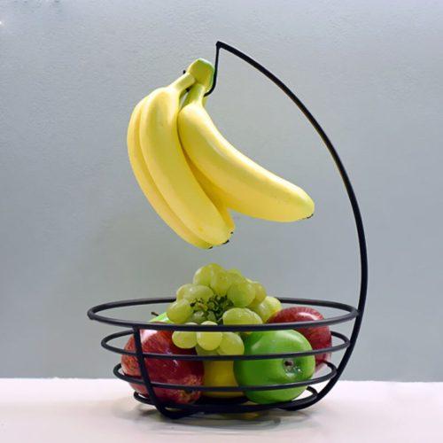 סלסלה דקורטיבית לאחסון פירות ותליית בננות לשמירה על טריות