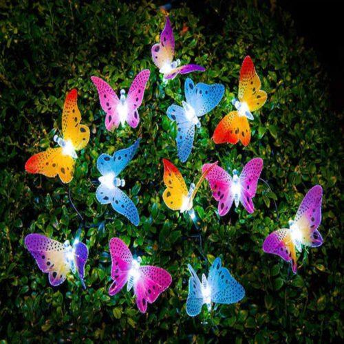 12 פרפרים סולאריים עם נורות לד צבעוניות לקישוט הגינה