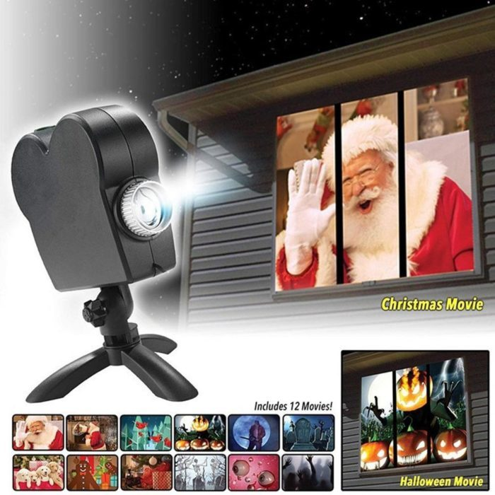 מקרן חלון בעל 12 סרטונים שונים להקרנה על החלון של הבית