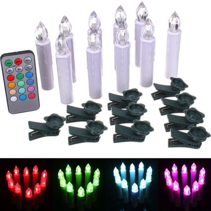 10 נרות לד מחליפים צבעים עם שלט