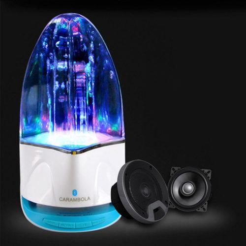 מנורת רמקול עם מים רוקדים בהשמעת שירים