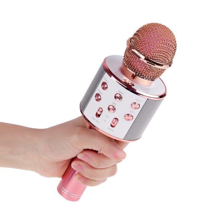 מיקרופון קריוקי אלחוטי המתחבר באמצעות בלוטות'
