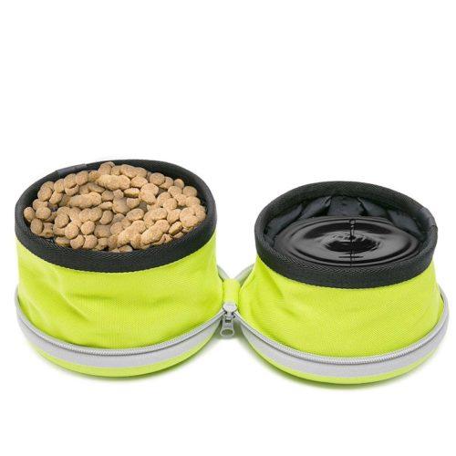 קערת טיולים מפוצלת לאוכל ומים לכלב