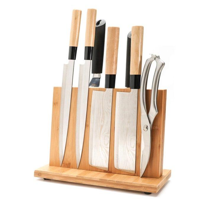 מעמד מגנטי דקורטיבי לאחסון וארגון סכינים