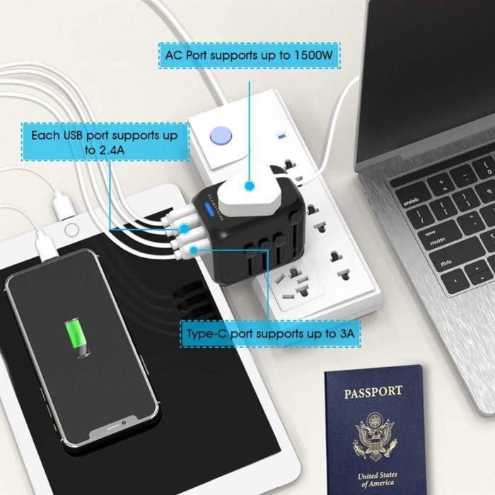 פלאג חשמל אוניברסלי לטיולים בעולם עם מגוון יציאות וחיבורים
