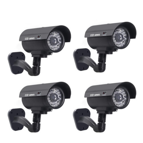 4 מצלמות אבטחה מזויפות עם נורות לד