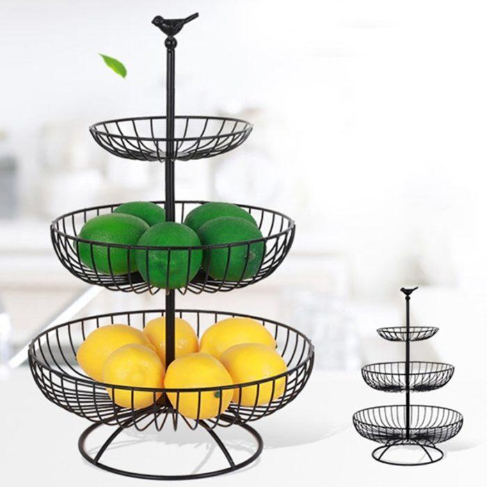 סלסלה בעלת 3 קומות לאחסון פירות וירקות
