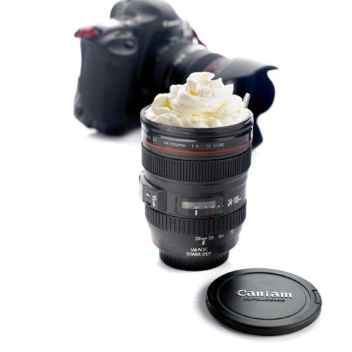 ספל קפה בצורת עדשת מצלמה