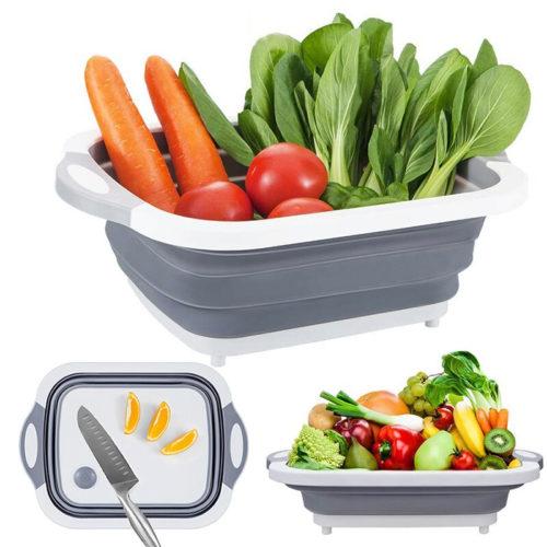 סלסלה רב שימושית לשטיפת פירות וירקות המתקפלת גם לקרש חיתוך