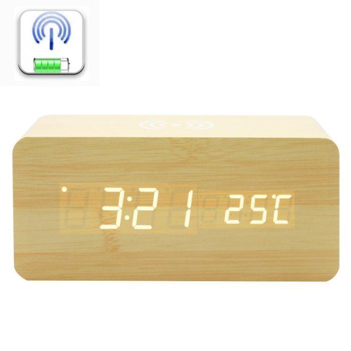 שעון דיגיטלי לחדר עם פונקציית הטענה אלחוטית לסמארטפונים