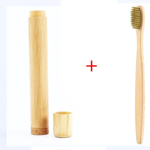 מברשת שיניים מתכלה מבמבוק עם קייס אחסון מבמבוק