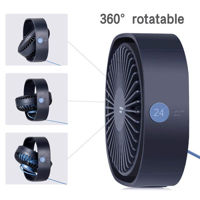 מיני מאוורר המופעל באמצעות כבל USB עם 3 מהירויות