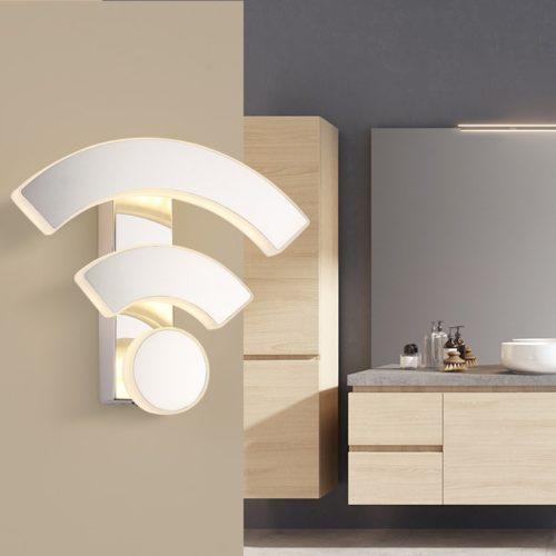 שלט דקורטיבי מודרני עם תאורה בצורת Wi-Fi
