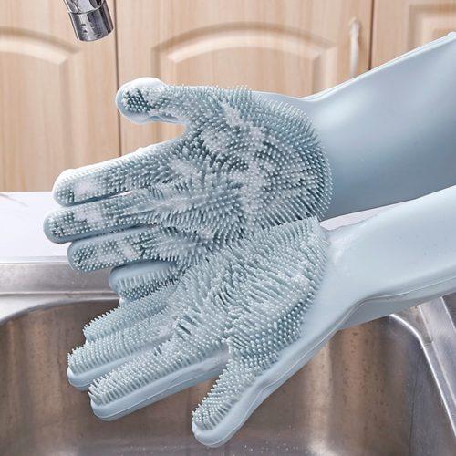 כפפות קרצוף מסיליקון לשטיפת כלים
