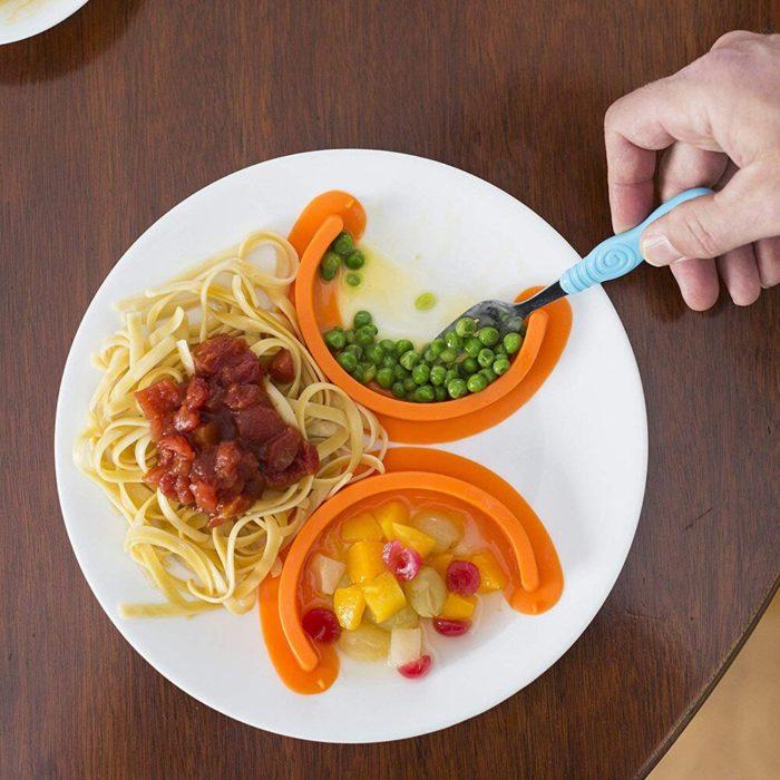 מפריד סוגי מזון שונים בצלחת מסיליקון (סט של 2 יח')