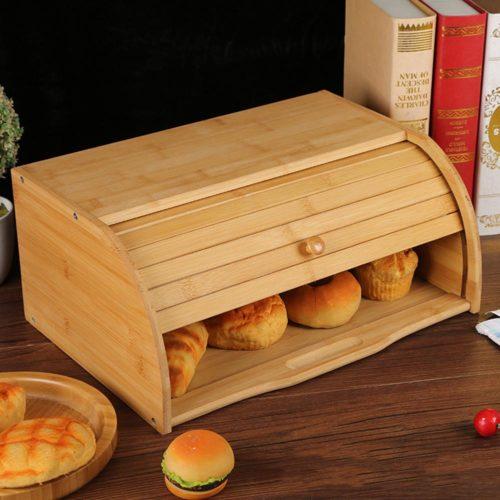 קופסת אחסון לחם מעץ עם מכסה