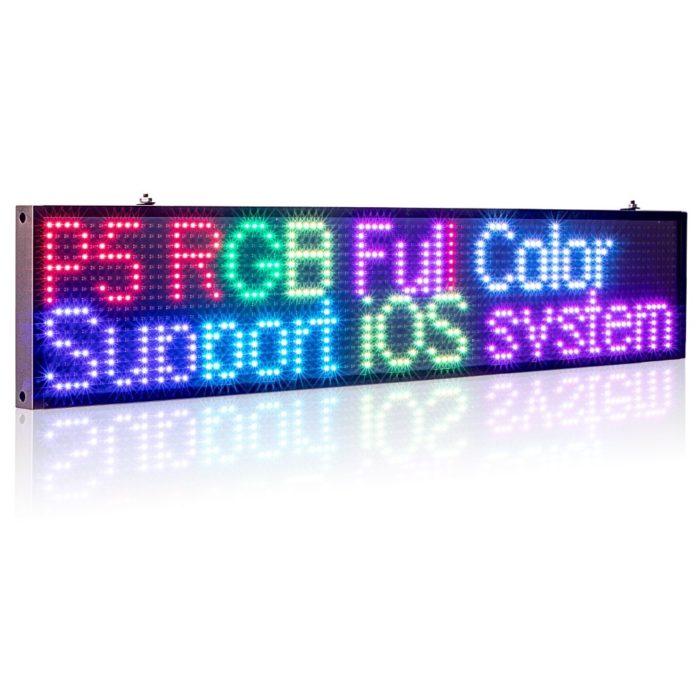 שלט כיתוב לד צבעוני לחנויות תומך עברית, רוסית, אנגלית, ערבית, ועוד
