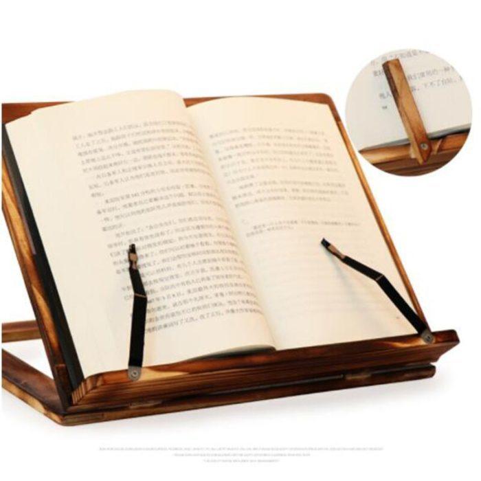 מחזיק ספרים בזמן קריאה עם תופסן דפים לנוחות