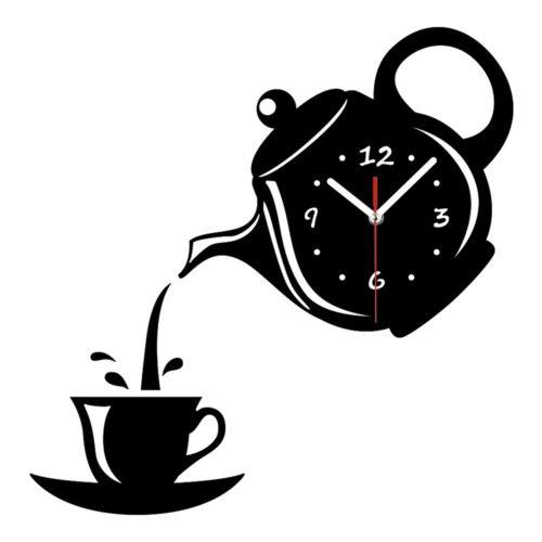 שעון קיר דקורטיבי בצורת קומקום וספל תה