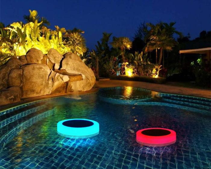 מצוף תאורה סולארי מחליף צבעים לבריכה עם שלט אלחוטי