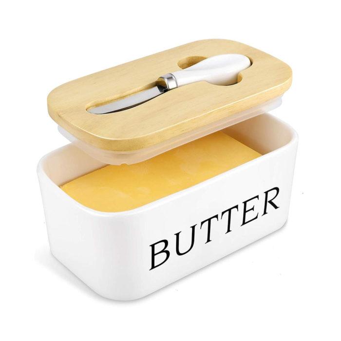 כלי לאחסון חמאה עם מכסה וסכין מקצועית