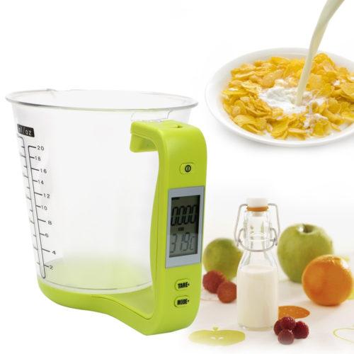 משקל דיגיטלי חכם למטבח עם מיכל למדידת נפח
