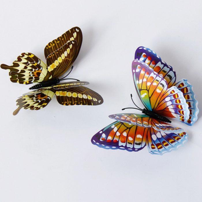 12 פרפרים תלת מימדיים לקישוט הקיר והבית