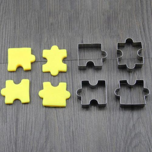 4 מכיני עוגיות בצורת חלקי פאזל
