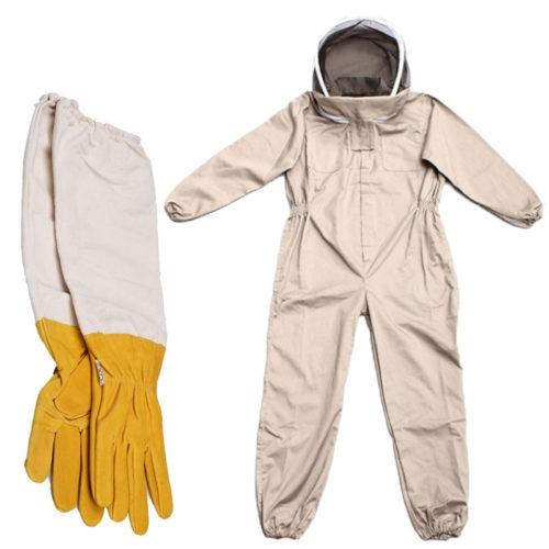 חליפת כוורנים מלאה להגנה מדבורים כולל רשת ראש וכפפות