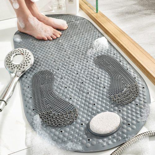 שטיחון מונע החלקה למקלחת עם משטח ואבן הברשה להסרת עור מת וריחות