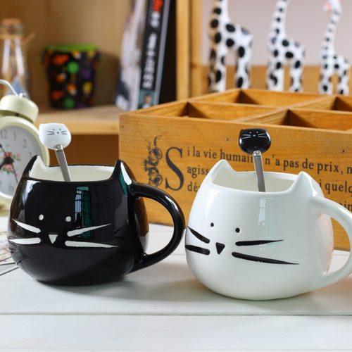 ספל קפה חמוד בצורת חתול עם כפית תואמת