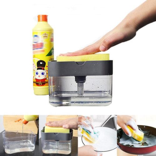 אחסון סבון חסכוני לחיץ היישר לתוך הספוג