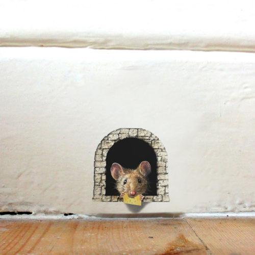 מדבקת תלת מימד מצחיקה לקיר בצורת מחילת עכבר