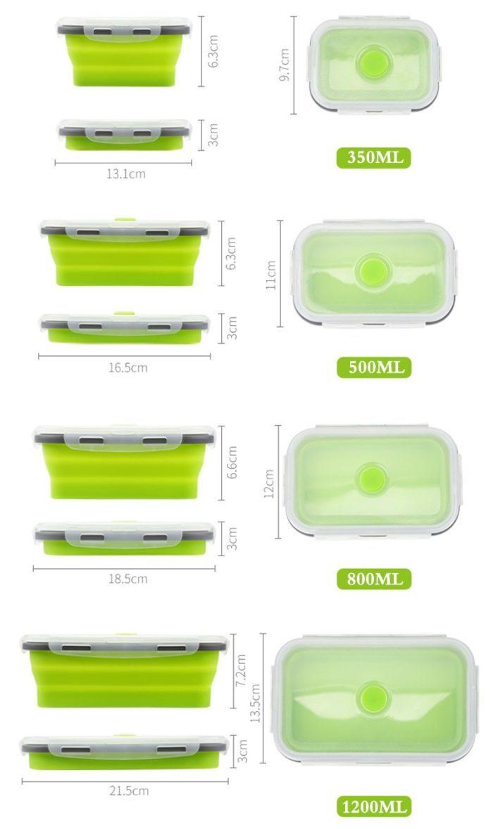 4 קופסאות אוכל מתקפלות בגדלים שונים
