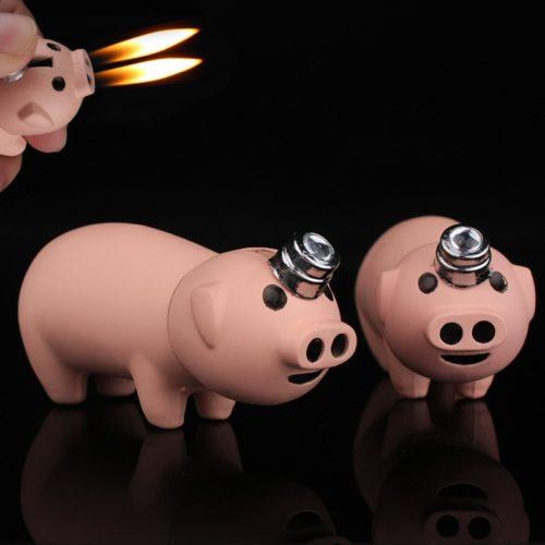 מצית בצורת חזיר עם להבה כפולה מהנחיריים
