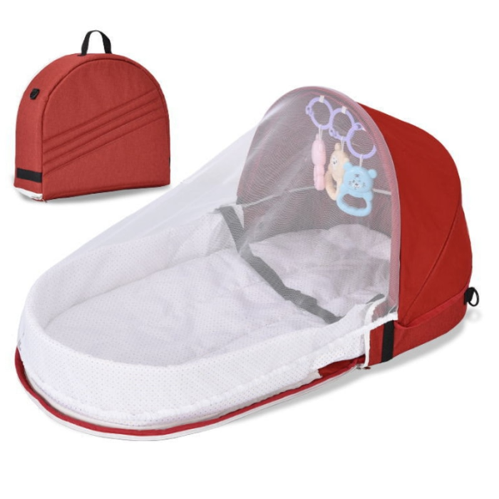 מיטת טיולים לתינוק עם רשת המתקפלת לתיק נייד