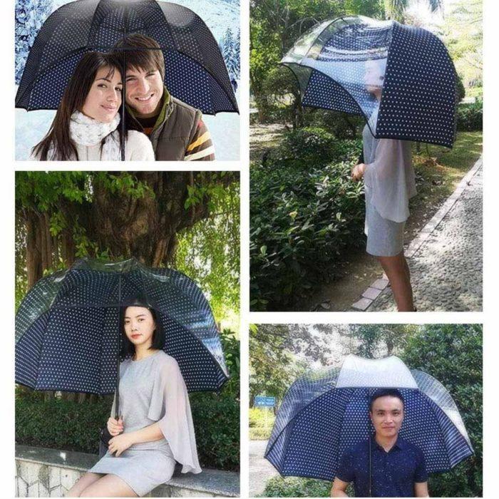 מטרייה בצורת כיפה עם דפנה שקופה לשמש